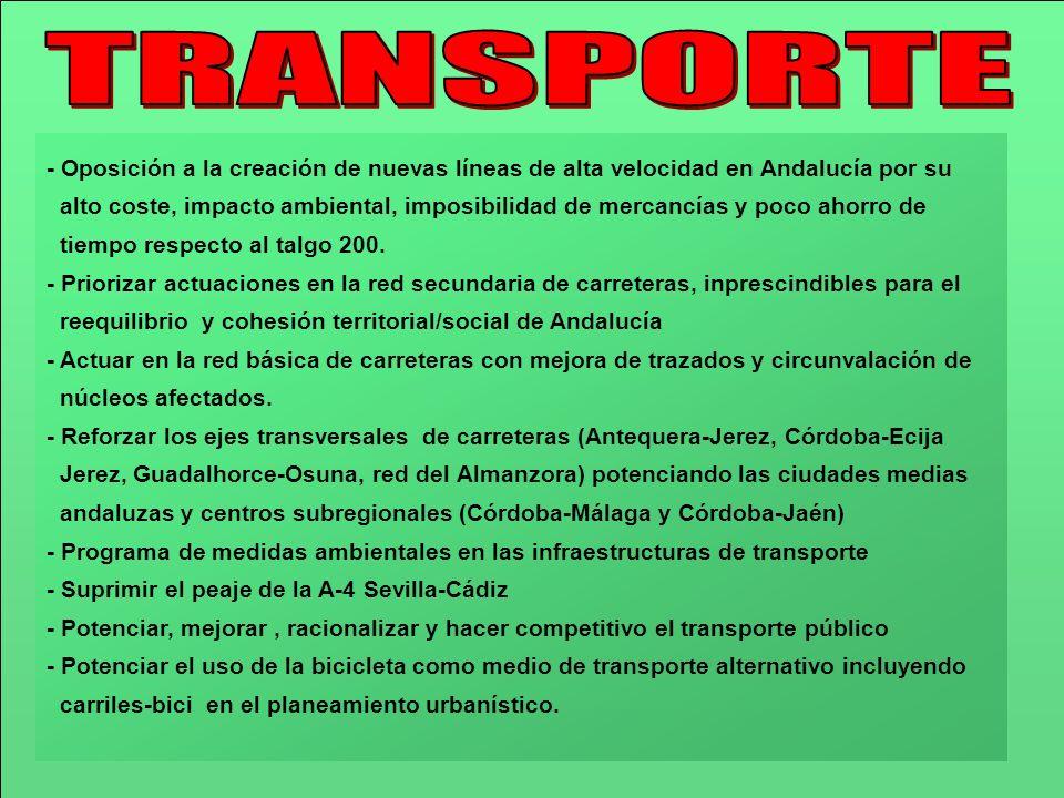 TRANSPORTE- Oposición a la creación de nuevas líneas de alta velocidad en Andalucía por su.
