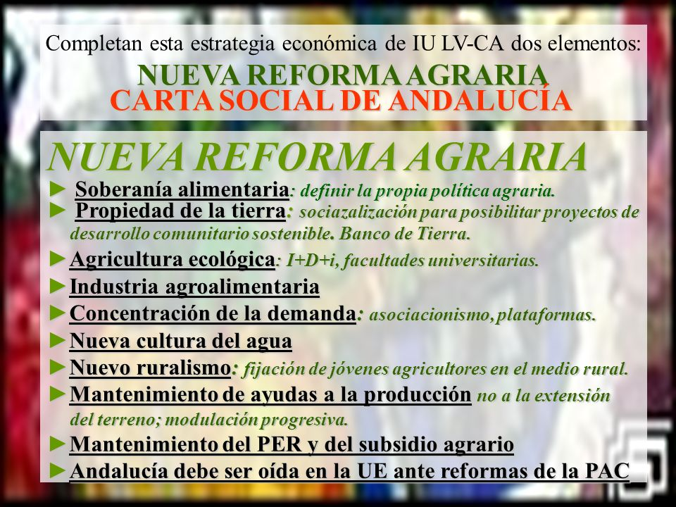 NUEVA REFORMA AGRARIA NUEVA REFORMA AGRARIA CARTA SOCIAL DE ANDALUCÍA