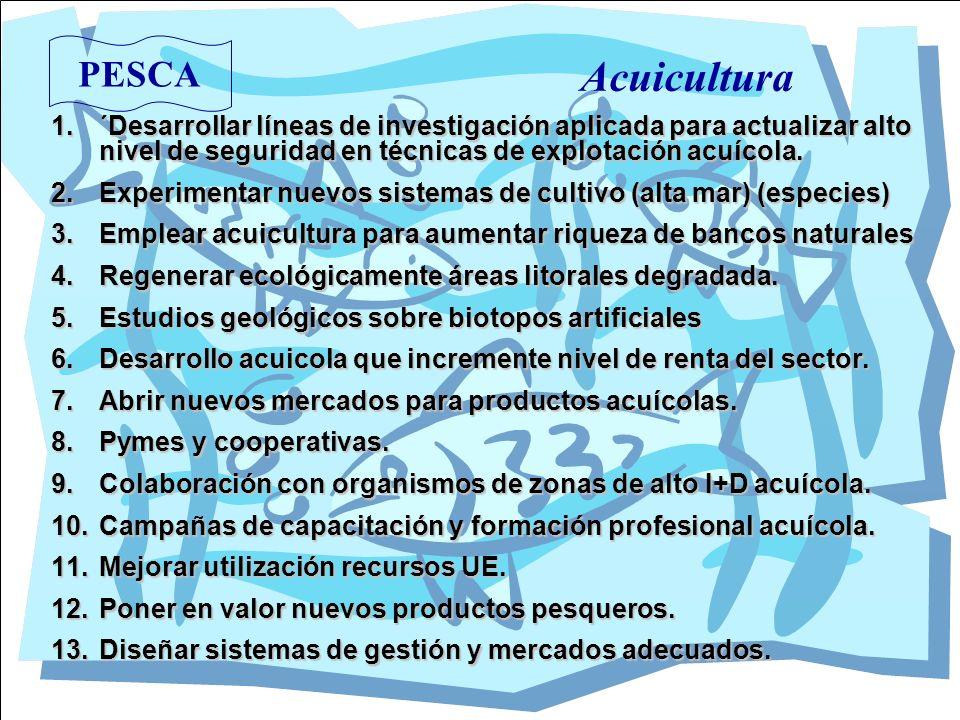 Acuicultura PESCA. ´Desarrollar líneas de investigación aplicada para actualizar alto nivel de seguridad en técnicas de explotación acuícola.