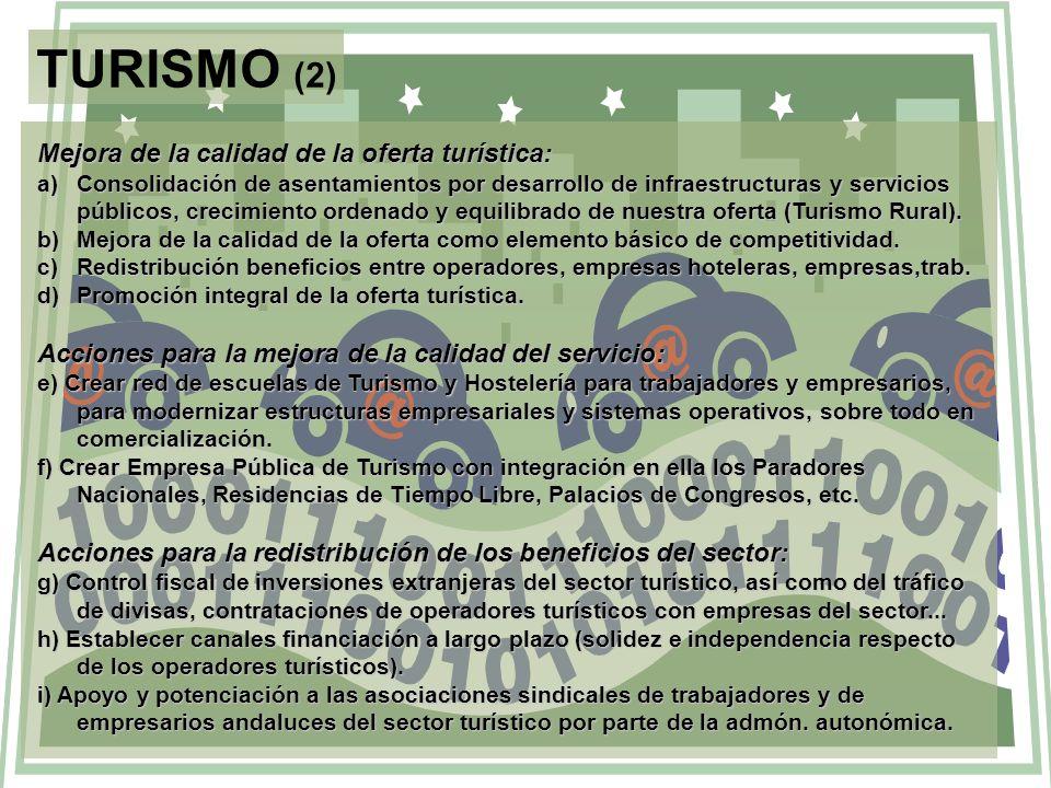 TURISMO (2) Mejora de la calidad de la oferta turística: