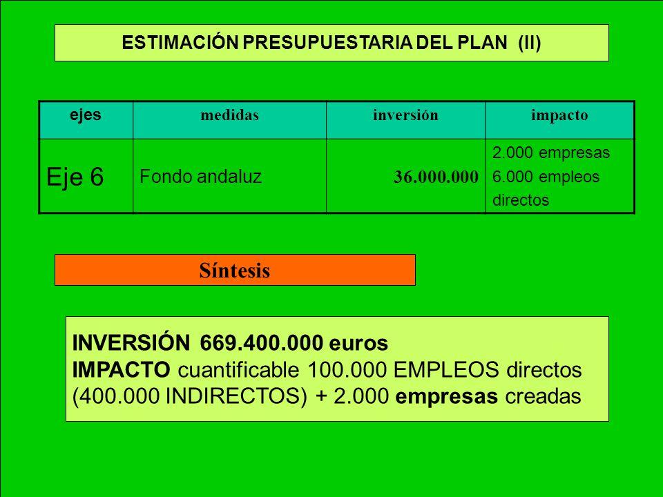 ESTIMACIÓN PRESUPUESTARIA DEL PLAN (II)