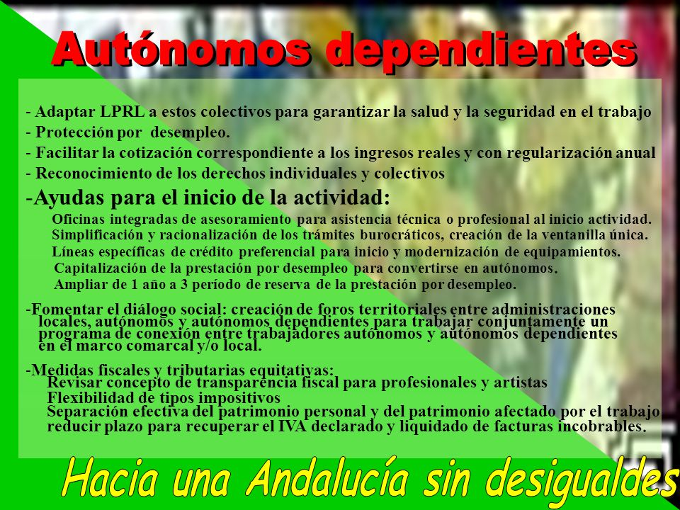 Autónomos dependientes Hacia una Andalucía sin desigualdes
