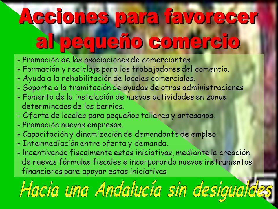 Acciones para favorecer Hacia una Andalucía sin desigualdes