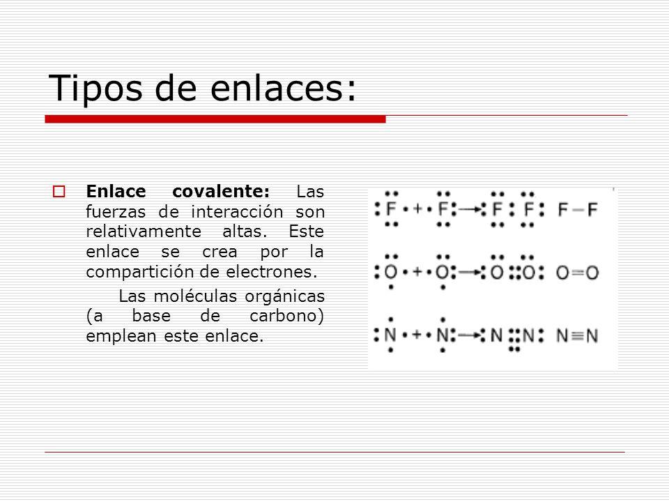 Tipos de enlaces: Enlace covalente: Las fuerzas de interacción son relativamente altas. Este enlace se crea por la compartición de electrones.