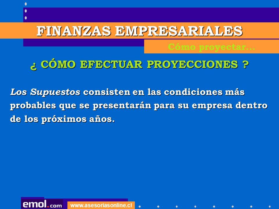 FINANZAS EMPRESARIALES ¿ CÓMO EFECTUAR PROYECCIONES
