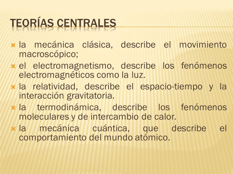 Teorías centrales la mecánica clásica, describe el movimiento macroscópico;