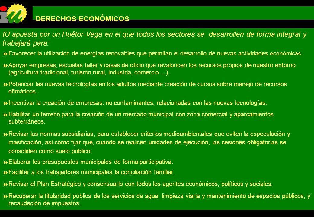 DERECHOS ECONÓMICOSIU apuesta por un Huétor-Vega en el que todos los sectores se desarrollen de forma integral y trabajará para: