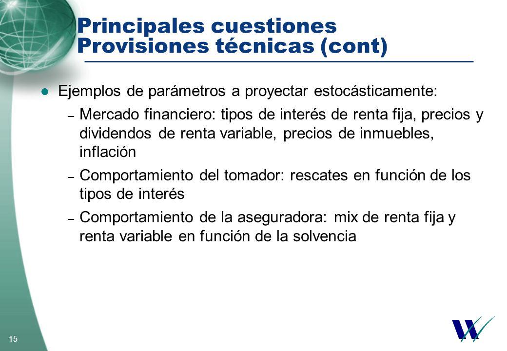 Principales cuestiones Provisiones técnicas (cont)