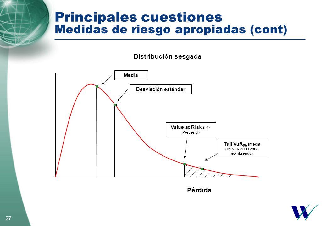 Principales cuestiones Medidas de riesgo apropiadas (cont)