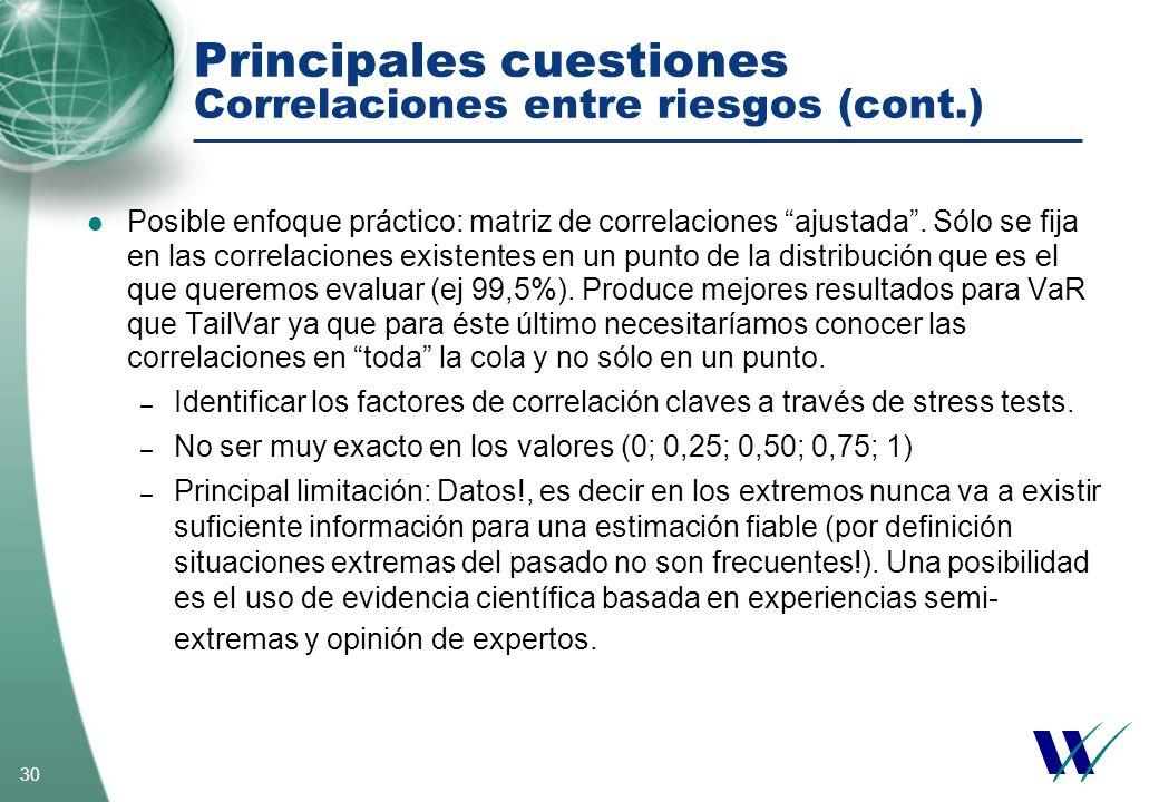Principales cuestiones Correlaciones entre riesgos (cont.)