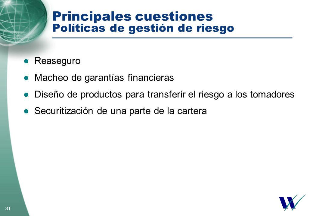 Principales cuestiones Políticas de gestión de riesgo