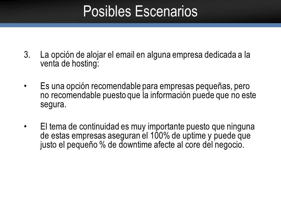 Posibles Escenarios La opción de alojar el email en alguna empresa dedicada a la venta de hosting: