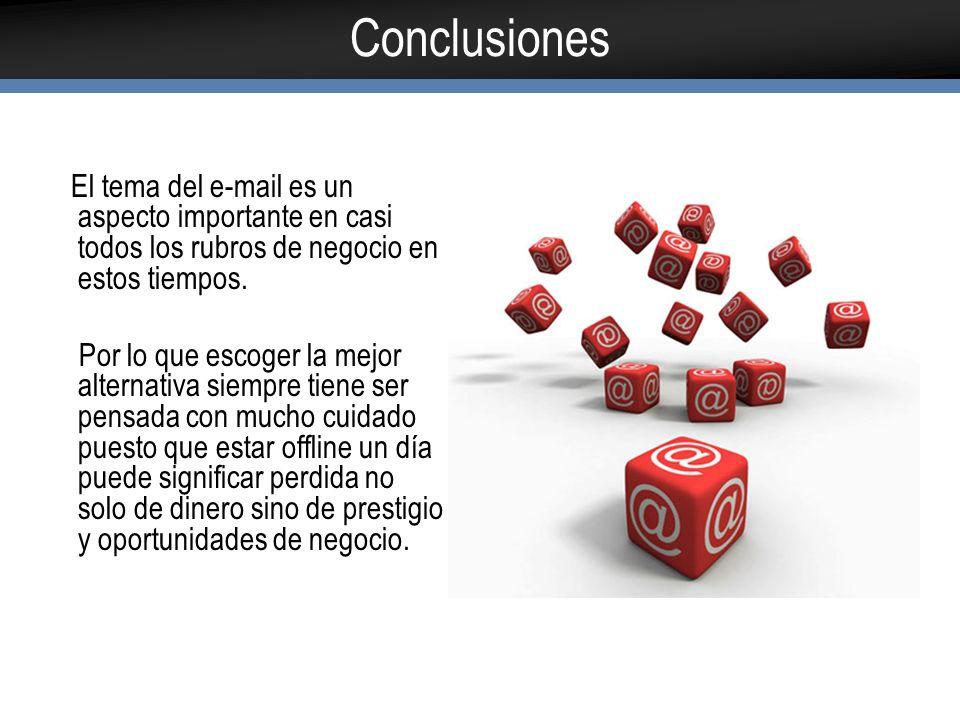 Conclusiones El tema del e-mail es un aspecto importante en casi todos los rubros de negocio en estos tiempos.