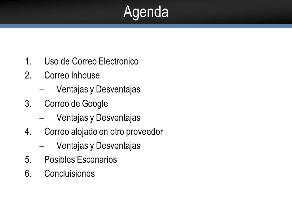 Agenda Uso de Correo Electronico Correo Inhouse Ventajas y Desventajas