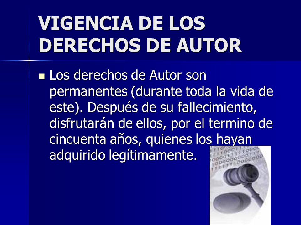 VIGENCIA DE LOS DERECHOS DE AUTOR