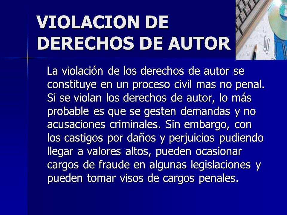 VIOLACION DE DERECHOS DE AUTOR