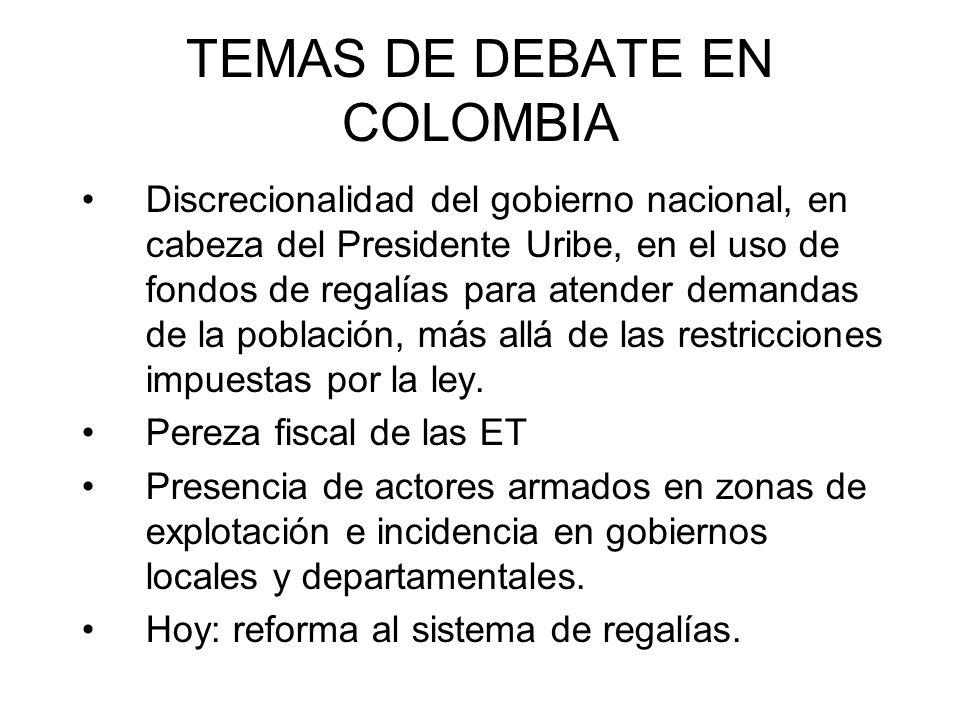 TEMAS DE DEBATE EN COLOMBIA