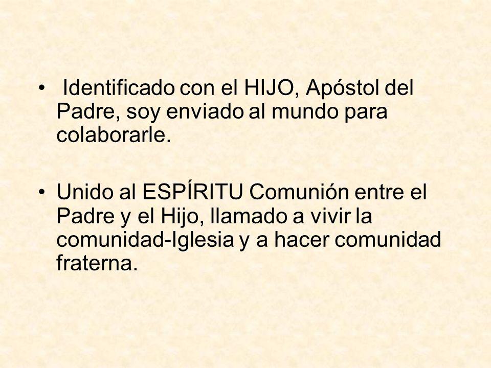Identificado con el HIJO, Apóstol del Padre, soy enviado al mundo para colaborarle.