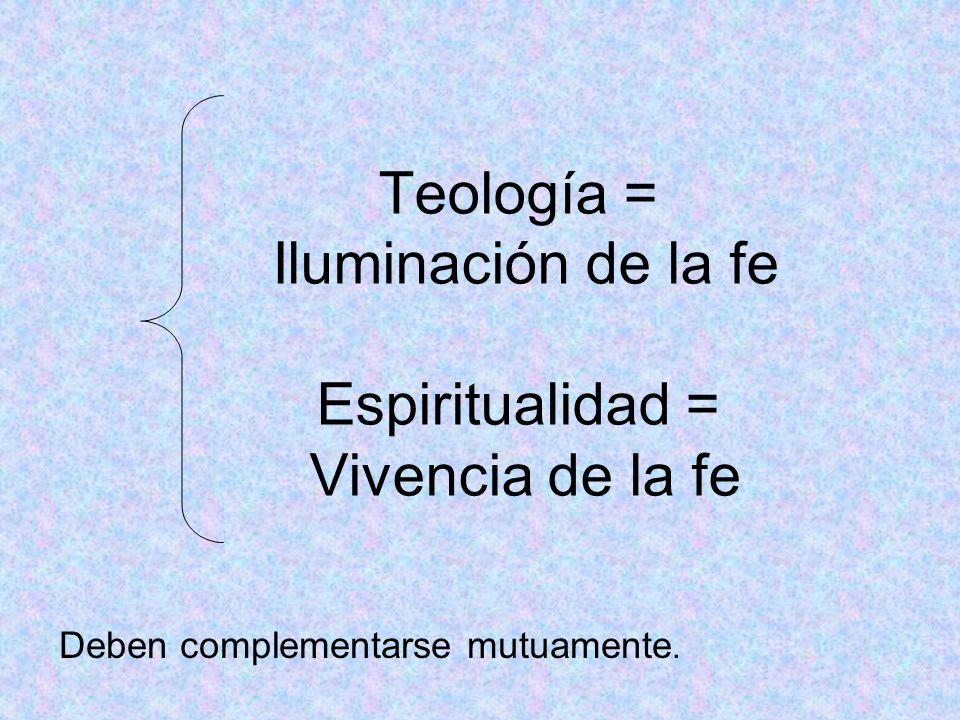 Teología = Iluminación de la fe Espiritualidad = Vivencia de la fe