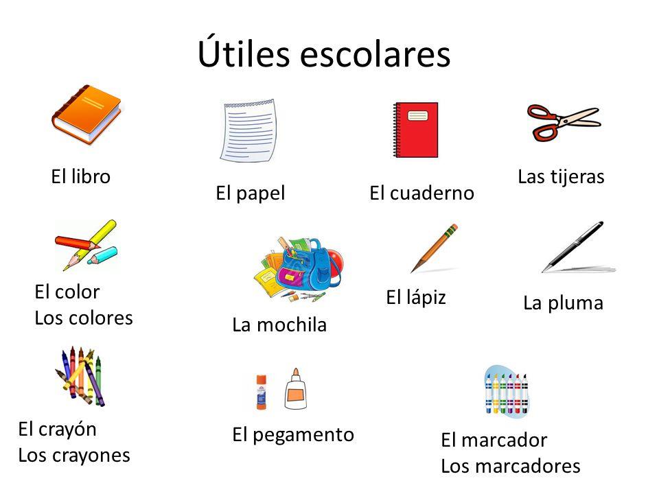 Útiles escolares El libro Las tijeras El papel El cuaderno El color ...