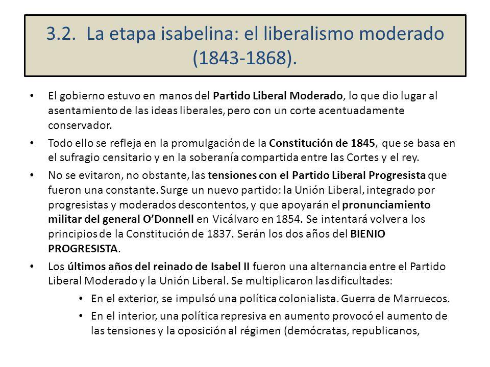 3.2. La etapa isabelina: el liberalismo moderado (1843-1868).