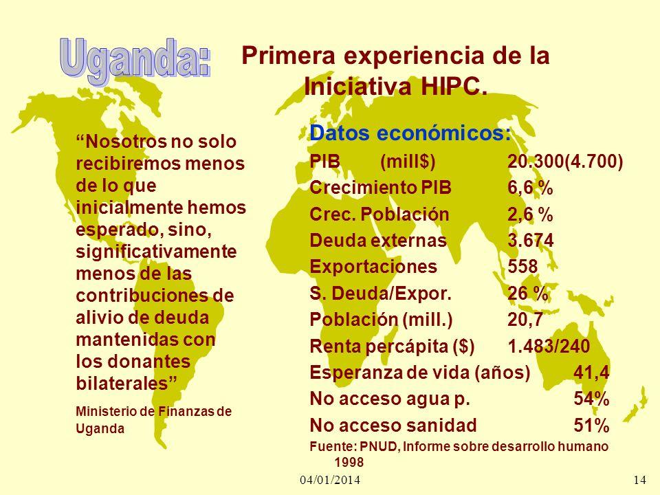 Primera experiencia de la Iniciativa HIPC.