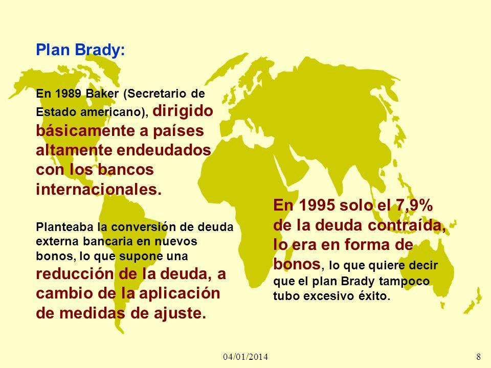 Plan Brady: En 1989 Baker (Secretario de Estado americano), dirigido básicamente a países altamente endeudados con los bancos internacionales.