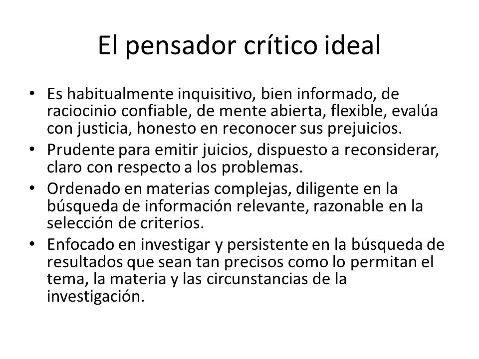 El pensador crítico ideal
