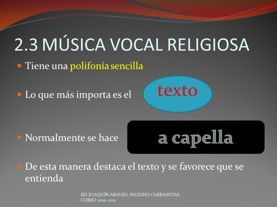 2.3 MÚSICA VOCAL RELIGIOSA