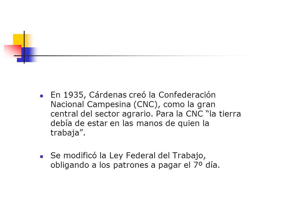 En 1935, Cárdenas creó la Confederación Nacional Campesina (CNC), como la gran central del sector agrario. Para la CNC la tierra debía de estar en las manos de quien la trabaja .