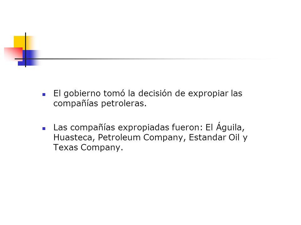 El gobierno tomó la decisión de expropiar las compañías petroleras.