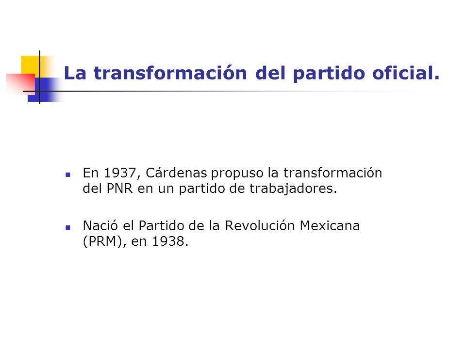 La transformación del partido oficial.
