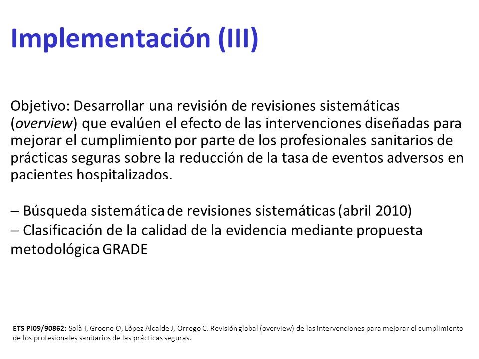 Implementación (III)