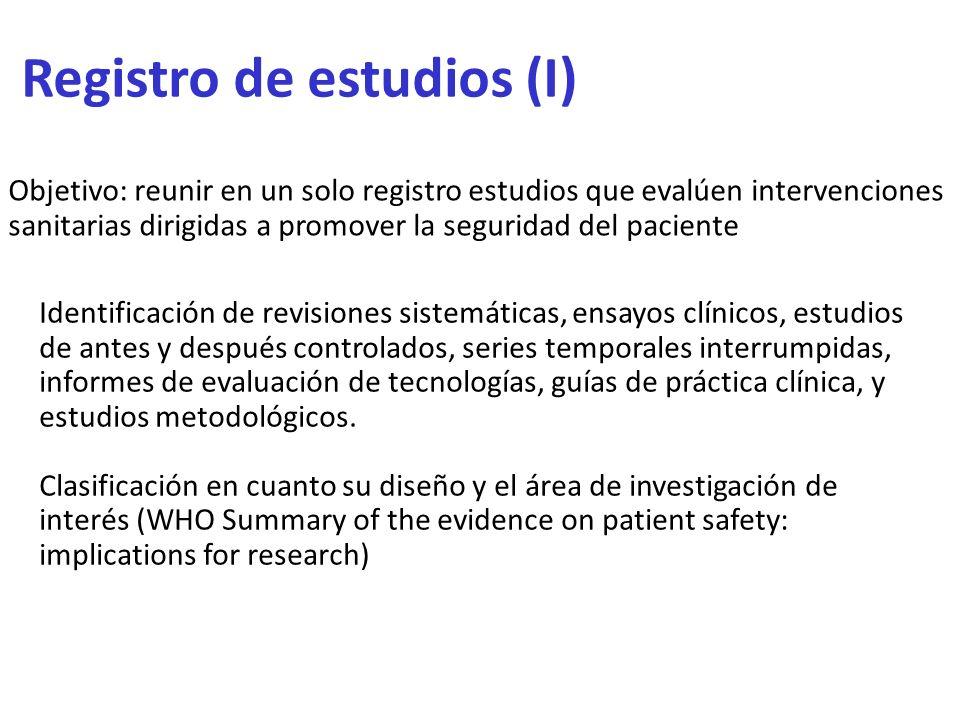 Registro de estudios (I)