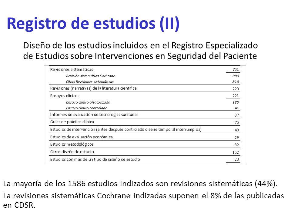Registro de estudios (II)