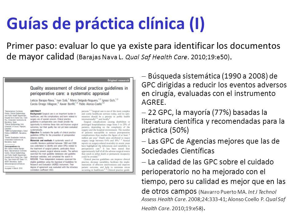 Guías de práctica clínica (I)