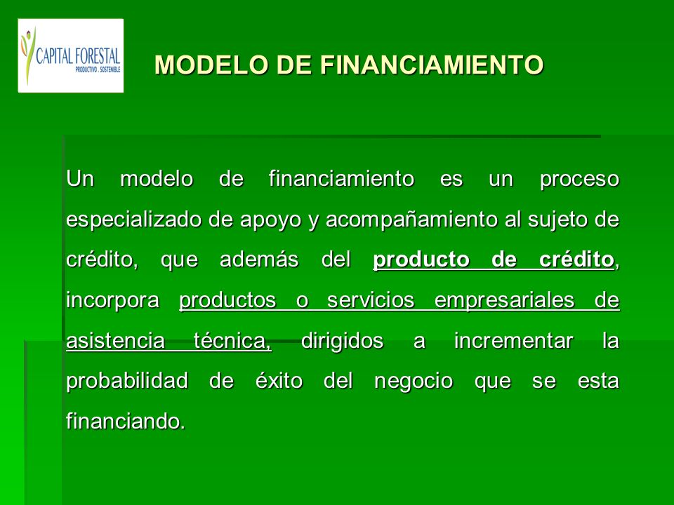 MODELO DE FINANCIAMIENTO