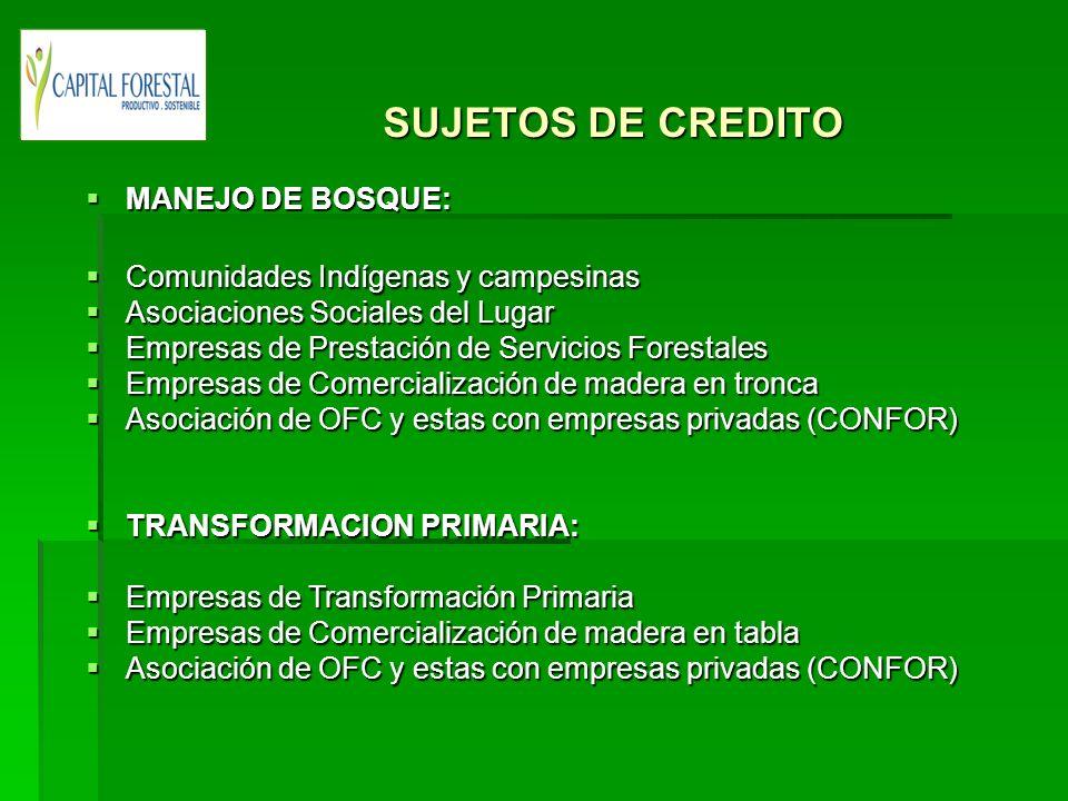 SUJETOS DE CREDITO MANEJO DE BOSQUE: