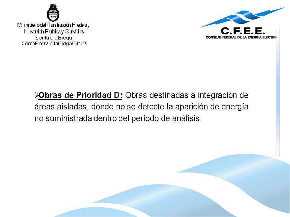Obras de Prioridad D: Obras destinadas a integración de áreas aisladas, donde no se detecte la aparición de energía no suministrada dentro del período de análisis.