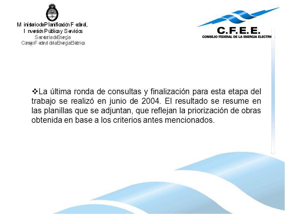 La última ronda de consultas y finalización para esta etapa del trabajo se realizó en junio de 2004.