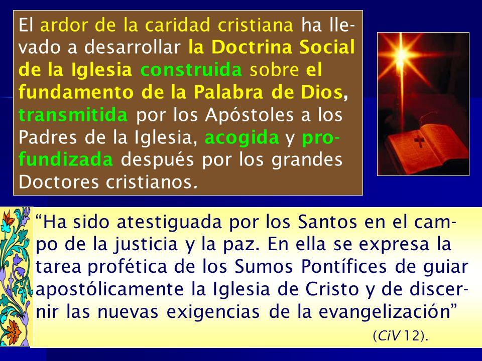 El ardor de la caridad cristiana ha lle-vado a desarrollar la Doctrina Social de la Iglesia construida sobre el
