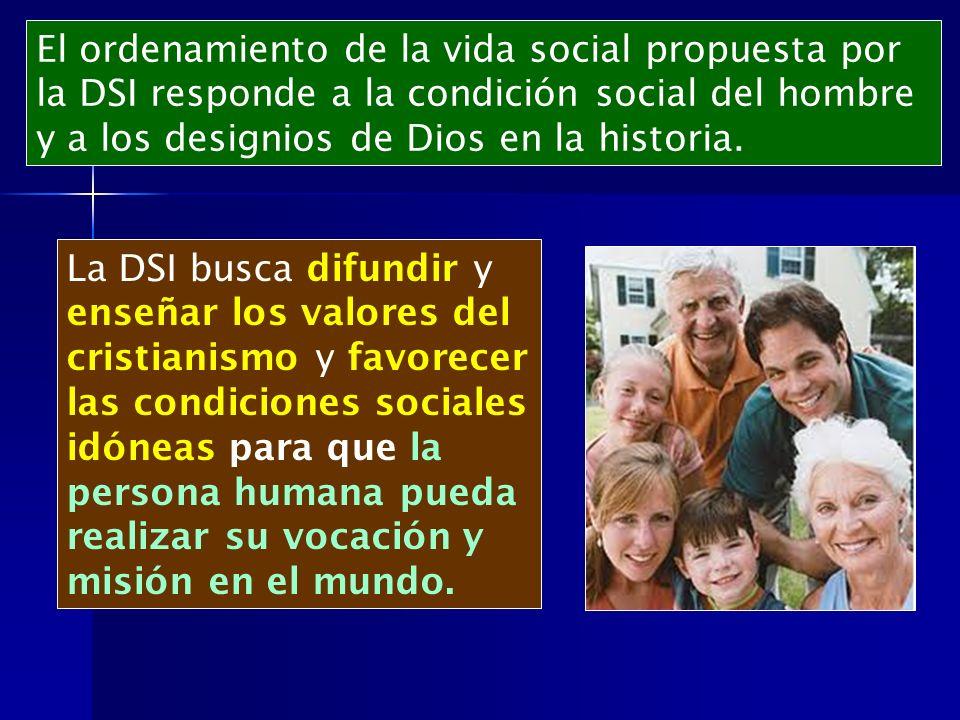 El ordenamiento de la vida social propuesta por la DSI responde a la condición social del hombre y a los designios de Dios en la historia.