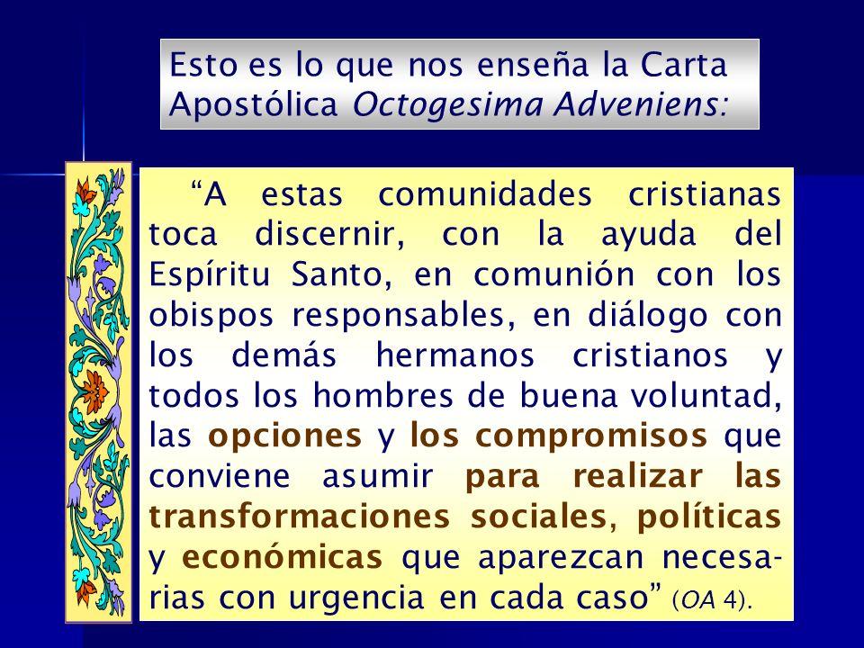 Esto es lo que nos enseña la Carta Apostólica Octogesima Adveniens: