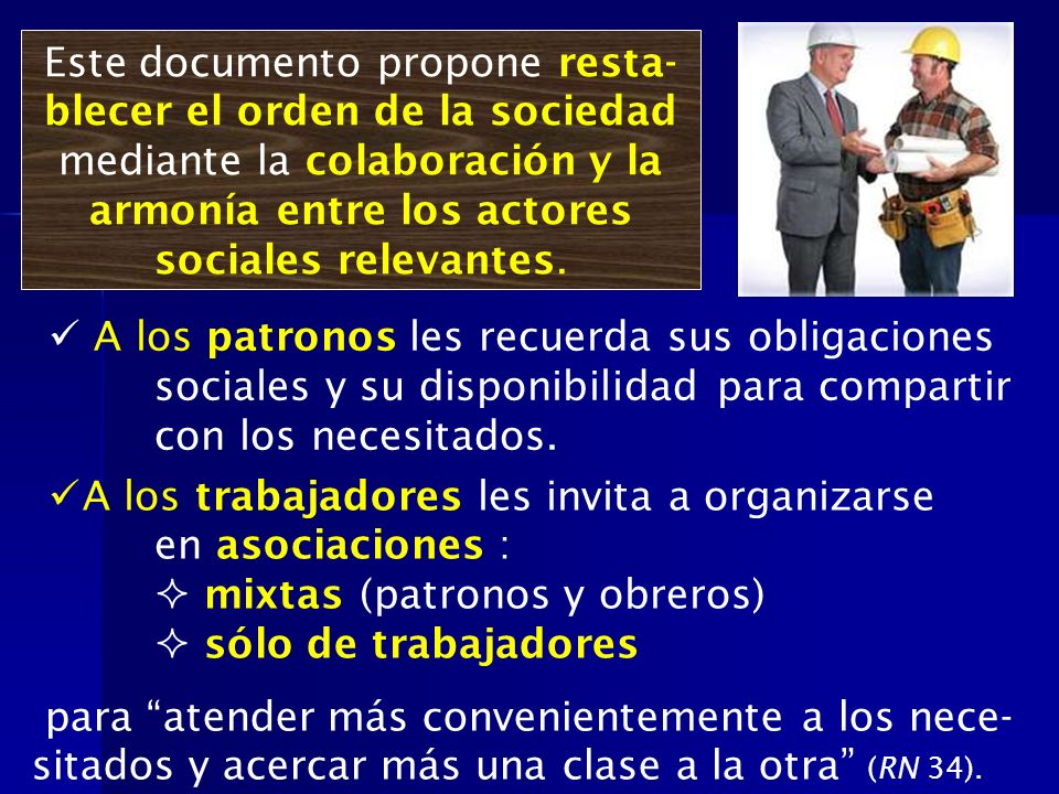 Este documento propone resta-blecer el orden de la sociedad mediante la colaboración y la armonía entre los actores sociales relevantes.