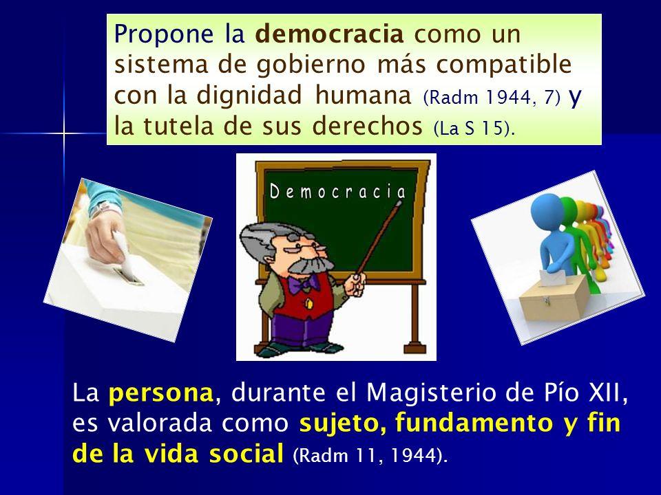 Propone la democracia como un sistema de gobierno más compatible con la dignidad humana (Radm 1944, 7) y la tutela de sus derechos (La S 15).