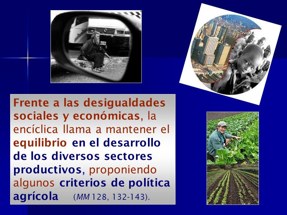 Frente a las desigualdades sociales y económicas, la encíclica llama a mantener el equilibrio en el desarrollo de los diversos sectores productivos, proponiendo algunos criterios de política agrícola (MM 128, 132-143).
