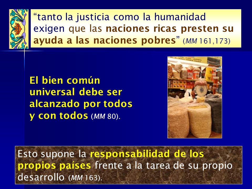 tanto la justicia como la humanidad exigen que las naciones ricas presten su ayuda a las naciones pobres (MM 161,173)