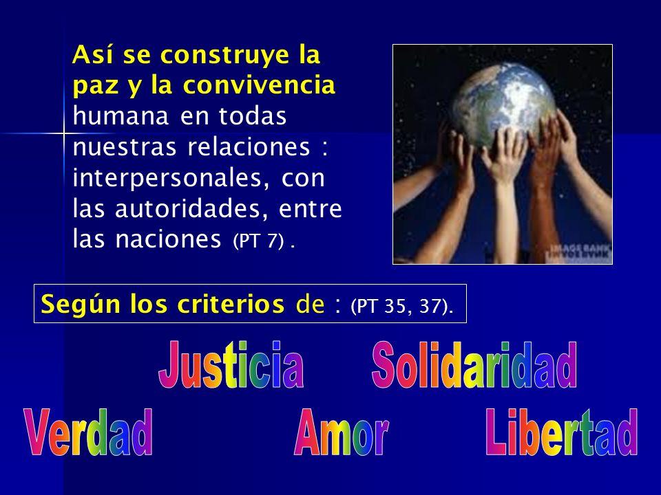 Justicia Solidaridad Verdad Amor Libertad