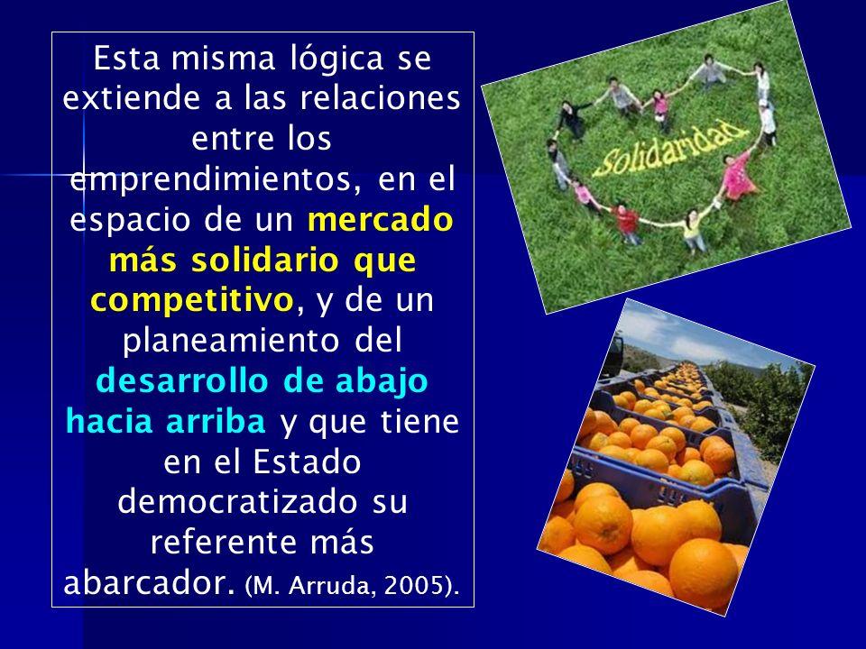 Esta misma lógica se extiende a las relaciones entre los emprendimientos, en el espacio de un mercado más solidario que competitivo, y de un planeamiento del desarrollo de abajo hacia arriba y que tiene en el Estado democratizado su referente más abarcador. (M.