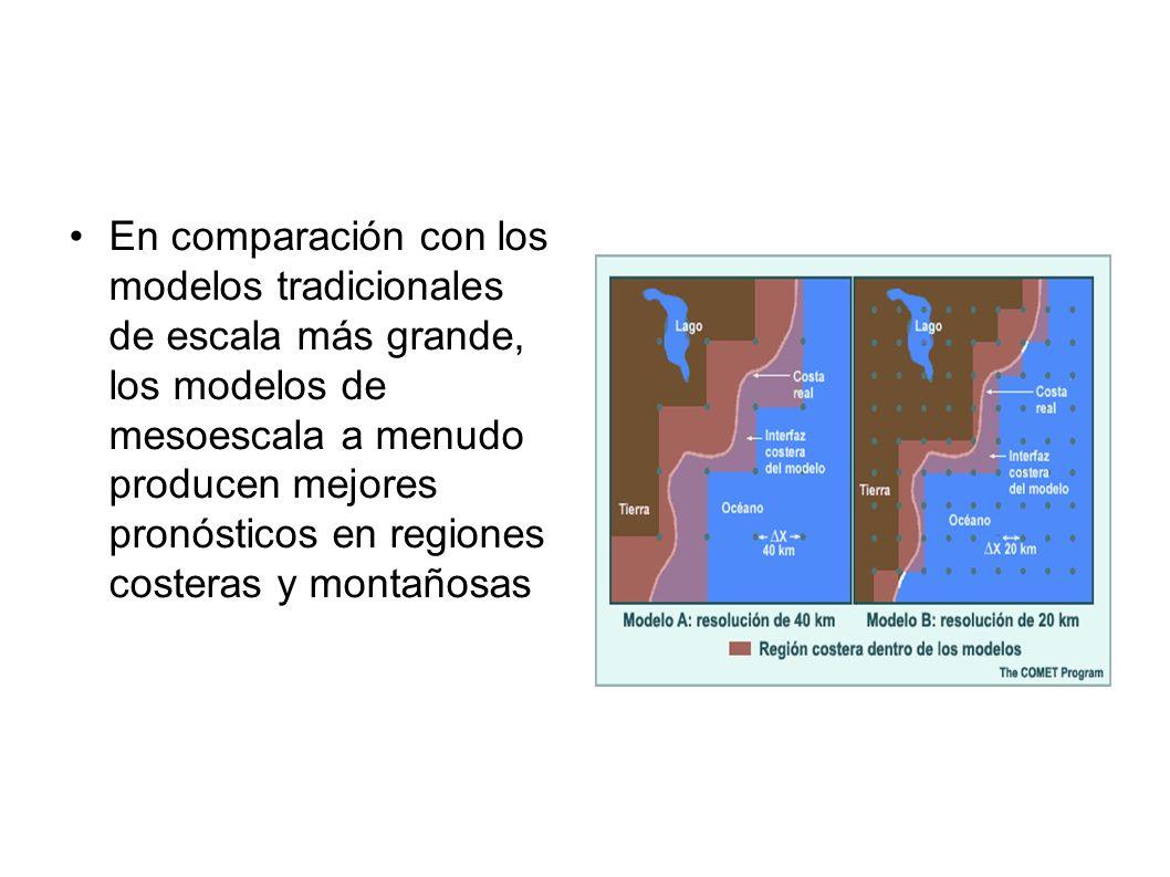 En comparación con los modelos tradicionales de escala más grande, los modelos de mesoescala a menudo producen mejores pronósticos en regiones costeras y montañosas
